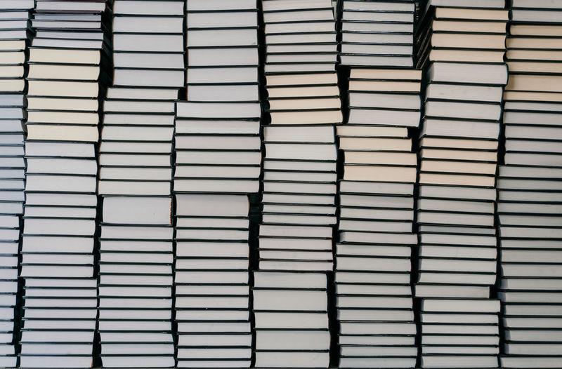 Full frame shot of pile of books