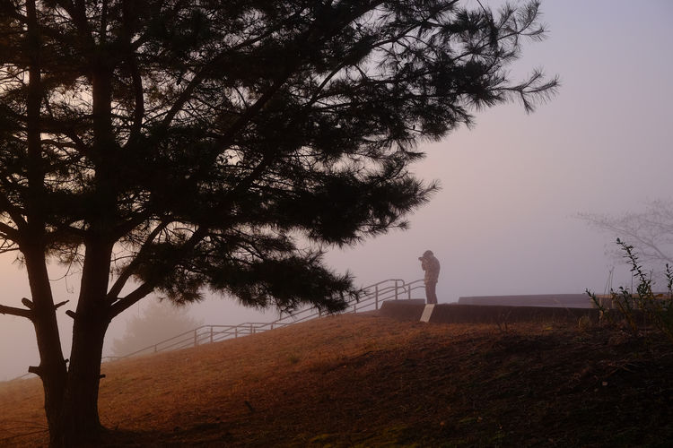 The moment. Autumn Misty Moment Serenity Beauty In Nature Concentration Fog Full Length Landscape Misty Landscape Nature Night One Person Outdoors People Photographer Real People Scenics Silhouette Sky Standing Sunset Tranquil Scene Tranquility Tree