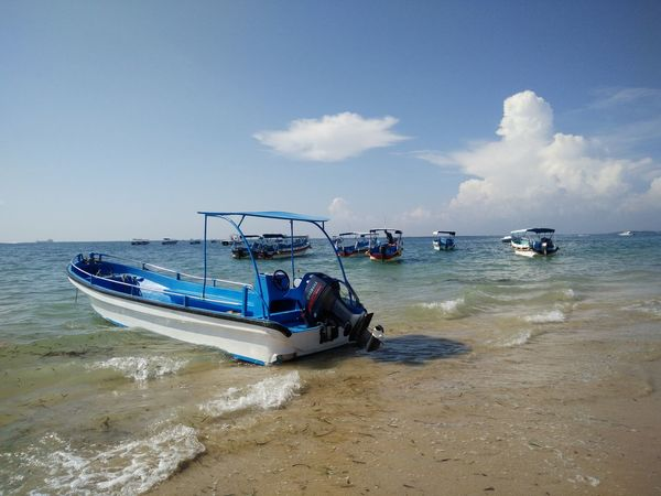 Beauty In Nature Blue Boat Cloud Cloud - Sky Day Horizon Over Water Idyllic Mode Of Transport Nature Nautical Vessel Ocean Outdoors Remote Scenics Sea Shore Sky Tranquil Scene Tranquility Water Bali, Indonesia Tanjungbenoa Nusadua