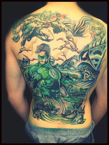 justice league!! Green Lantern  Superman Batman Tattoo