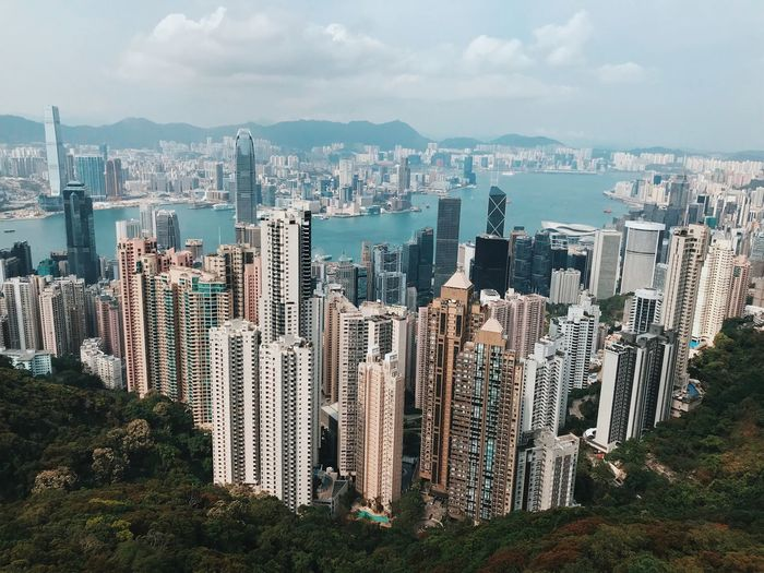 Hongkong Skyline HongKong China City Built Structure Building Exterior Sky Architecture Cityscape Building Cloud - Sky High Angle View Office Building Exterior Nature Residential District Plant Landscape Day Water Outdoors Crowded Financial District  Skyscraper