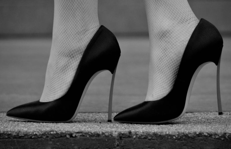 Shoe High Heels Low Section Human Leg Body Part Fashion Human Body Part Close-up Real People Stiletto Women Selective Focus Adult One Person Human Foot Females Standing Indoors  Dress Shoe High Heels ❤ Blackandwhite