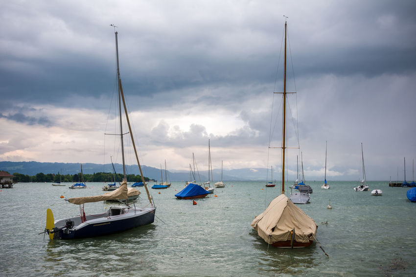Lake Constance from Wasserburg Altstadt Bavaria Bayern Boat Bodensee Cloudy Composition Lake Constance Medieval Mode Of Transport Nautical Vessel Old Outdoors Sailboat Sailing Sea Southern Germany Transportation Wasser Wasserburg Water