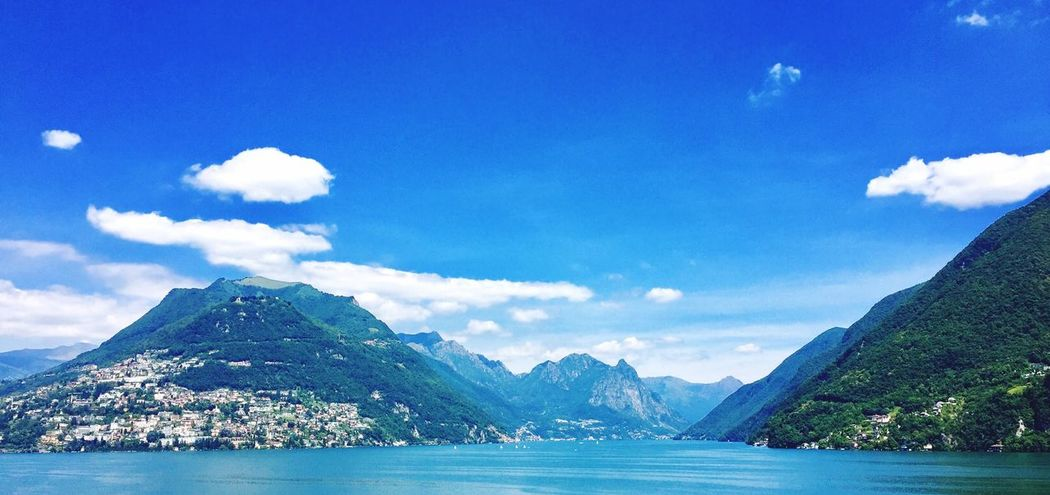 Mountain Nature Scenics Sky Tranquility Cloud - Sky Water Beauty In Nature Sea Blue Outdoors Mountain Range Tranquil Scene Day No People Lugano Lake