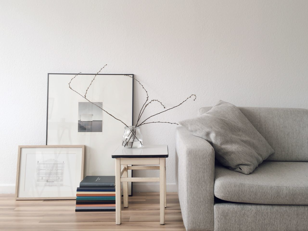 Sofa and table against wall at home