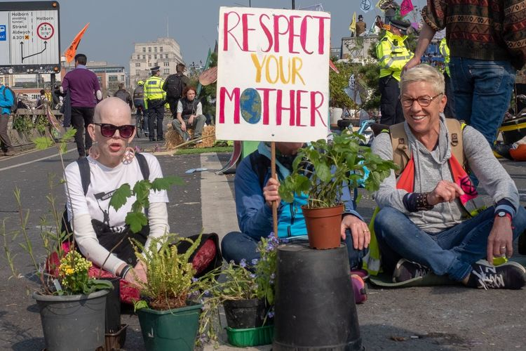 Day Three of Extinction Rebellion protest - Waterloo Bridge Extinction Rebellion Sunglasses Glasses Males  Men Plant Adult Text British Culture