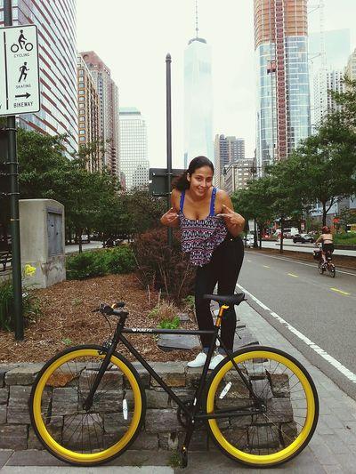Taking Photos Enjoying Life Freedomtower NYC Newyorkcity Fixiegirl Bike Ride Wifey♡ Beautifulgirl Love ♥