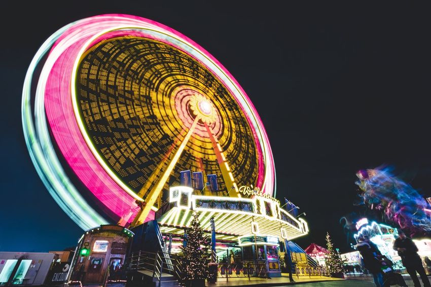 Fun times Amusement Park Arts Culture And Entertainment Amusement Park Ride Night Leisure Activity Illuminated Enjoyment Fun Ferris Wheel Excitement Motion Ride Carousel Multi Colored Clear Sky Outdoors Low Angle View Traveling Carnival Merry-go-round Lifestyles