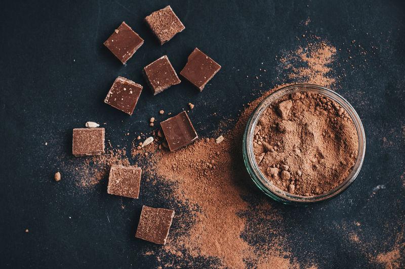High angle view of chocolates on table