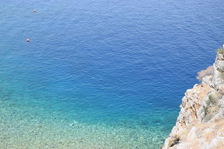 High angle view of rocky beach