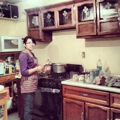Aki cocinando Chef :D