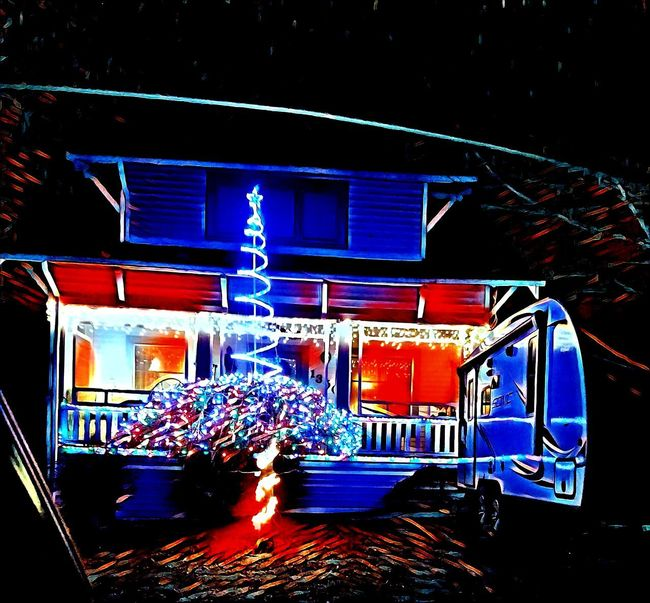 A Uniquely American Sight! Christmas Christmastree Christmasday ChristmasEVe Christmas2017 ChristmasGift Christmass Christmascard Christmasmood Christmasfun Portland Oregon Portland, OR Painntapp Edit Night Illuminated No People Indoors  Ice Hockey Ice Rink