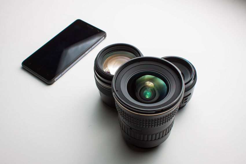 Focal Length Lenses Collection Amateur Aperture Camera - Photographic Equipment Close-up Day Device Screen Focus Indoors  Mobile Photography No People Photography Themes Pro Product Photography Shutter Speed Smart Phone Studio Shot Technology White Background