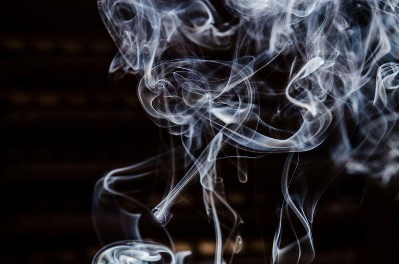 Blurred Motion Of Smoke In Darkroom