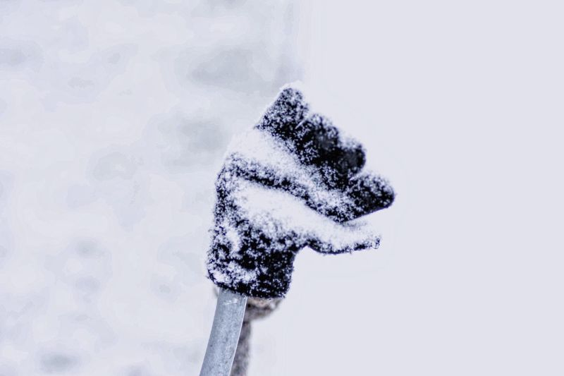 Close-up of snow on white background