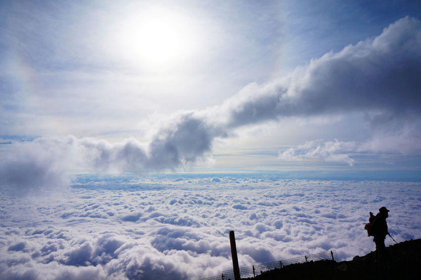2013 Beauty In Nature Cloud - Sky Cold Temperature Day Fuji Fujisan Mountain Mt Fuji Nature One Person Outdoors People Scenics Shadow Sky Sun Sunlight Trecking Weather 富士山 登山 雲 雲海