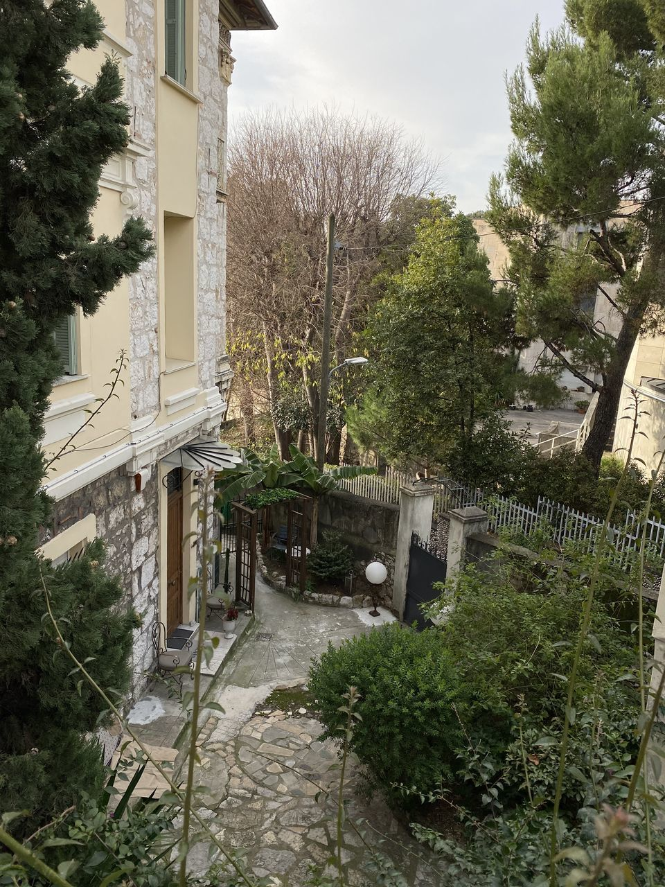 plant, tree, architecture, built structure, building exterior, nature, building, no people, day, growth, outdoors, footpath, sky, house, garden, residential district, high angle view, water, city, front or back yard, courtyard