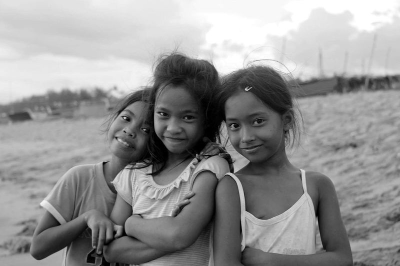 girls by the beach Blackandwhite Cabangan Looking At Camera Vacations Simplejoy