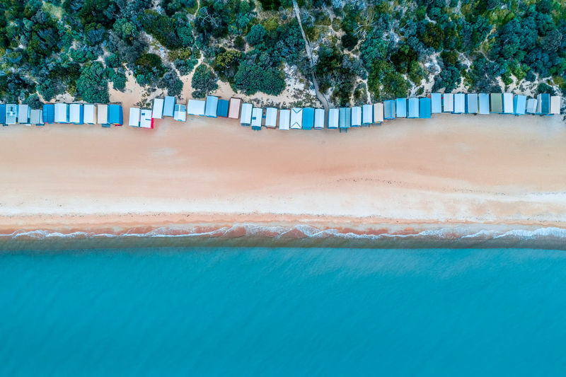 Aerial view of huts on beach