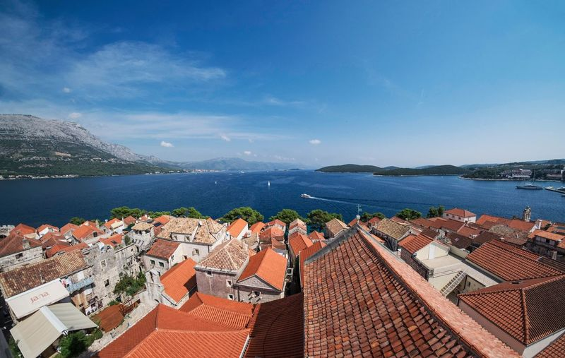 Architecture Beauty In Nature Blue Building Exterior Built Structure City Cityscape Cloud Cloud - Sky Coastline Croatia Day Korčula Mountain Nature No People Outdoors Residential Building Residential Structure Roof Sea Sky Town TOWNSCAPE Water