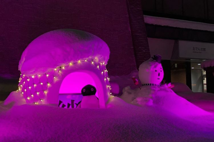 Igloo Travel Snow Festival Pink Illumination Tadaa Community Japan Tohoku Iwate Morioka Igloo Snowman Nightphotography Night Pink Color Illuminated Indoors  Arts Culture And Entertainment Sculpture Statue
