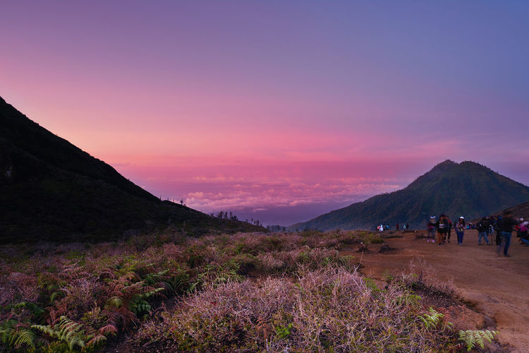 Kawah ijen volcano with sunrise landscape and nature scenic in morning, East Java, Indonesia Kawah Ijen Volcano Morning Sky Beauty In Nature Landscape Mountain Nature Scenics Sky Sunrise Sunset