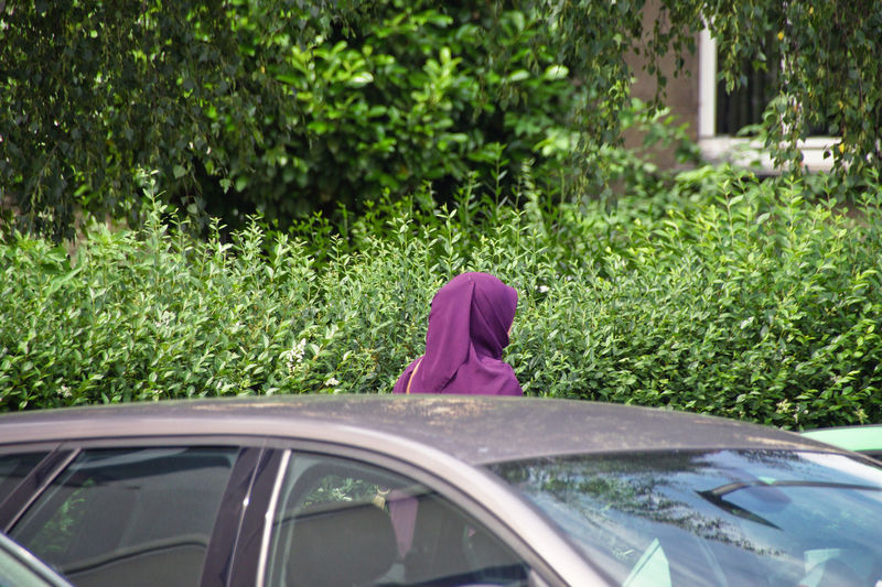 City Life Muslimah Burka  Car Day Focus On Foreground Glass - Material Grass Green Color Growth Land Vehicle Lifestyles Mode Of Transportation Motor Vehicle Muslim Nature One Person Outdoors Pink Color Plant Real People Transportation Tree