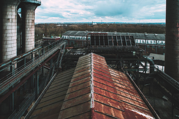 Landschaftspark Industrial Architecture Bridge Bridge - Man Made Structure Building Building Exterior Built Structure City Cloud - Sky Connection Day Industry Mode Of Transportation Nature No People Outdoors Railing Sky Staircase Track Transportation