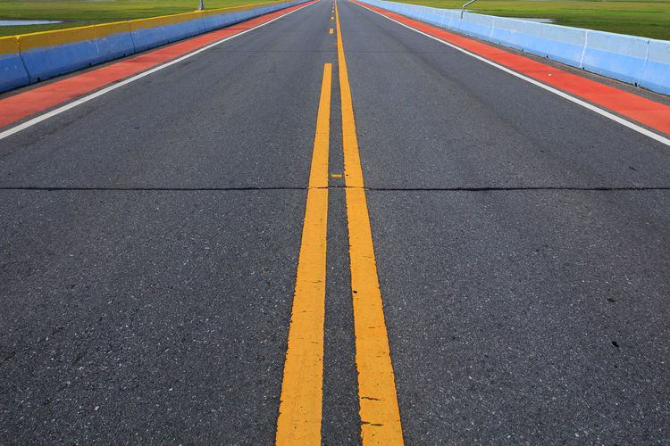 Double yellow lines on road