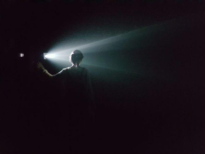 One Person People Night Illuminated Back Light Light Beam Solo Sidelit Adult Art