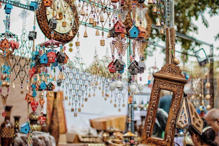 Close-up of decoration hanging at market stall