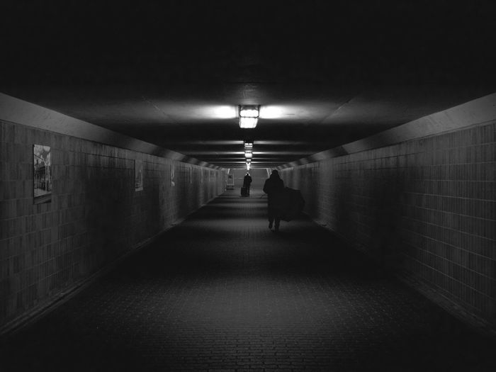 Architecture Blackandwhite Check This Out Day Illuminated Indoors  Leisure Activity Lifestyles Men One Person People Real People Rear View Street Streetphotography Taking Photos The Way Forward Tunnel Tunnel Vision Underpass Walking