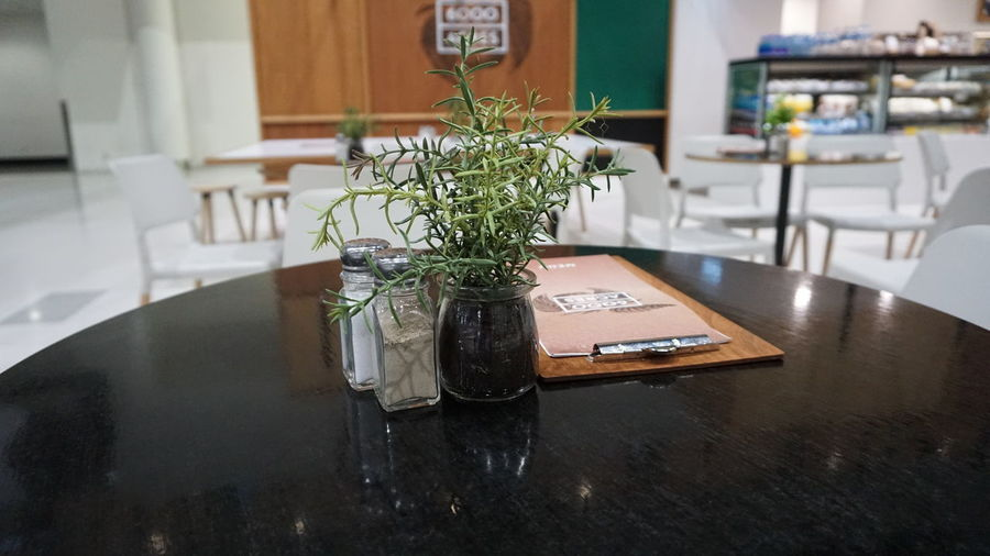 Close-up of flower on table