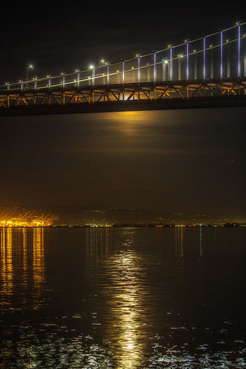 Bay Lights San Francisco Architecture Bay Bridge Bridge - Man Made Structure Built Structure City Cityscape Connection Illuminated Night No People Outdoors Reflection San Francisco Bay Sky Suspension Bridge Transportation Travel Travel Destinations Water Waterfront