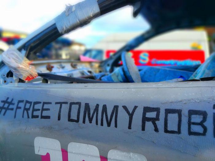 Free Tommy Robinson Stock Car Banger Racing Water Sea Text Close-up