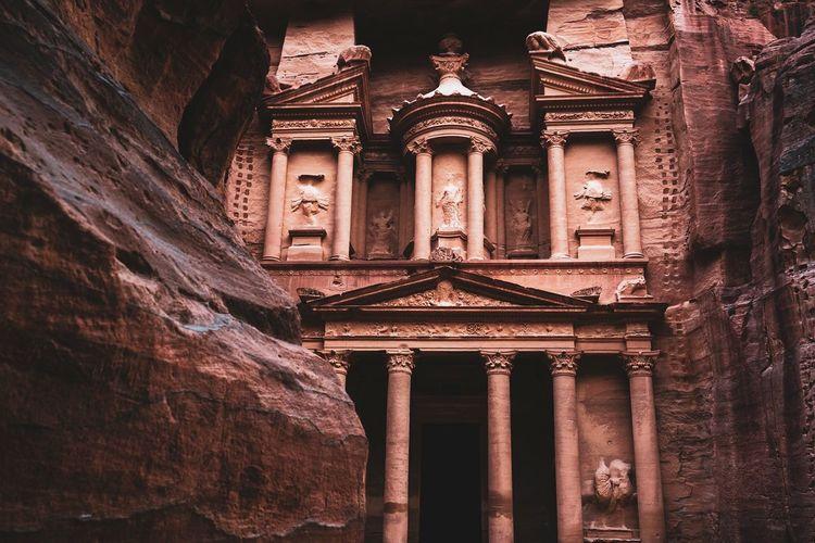Petra Jordan Architecture Built Structure Building Exterior History The Past Architectural Column Building Low Angle View No People Travel Destinations Ancient Travel Outdoors Tourism