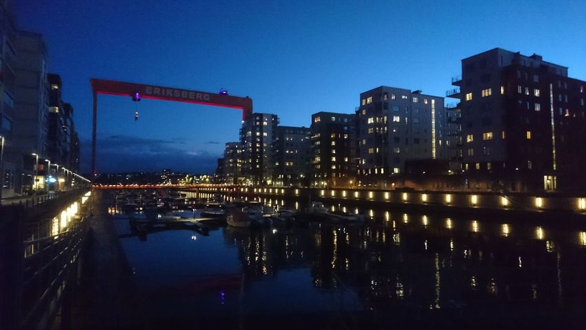 Night Reflection Illuminated Outdoors Architecture City Blue Building Exterior Sky No People Water Cityscape Gothenburg Goteborg Eriksberg