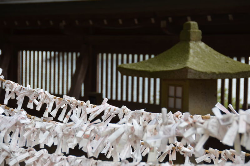 Praying papers hanging against japanese shrine