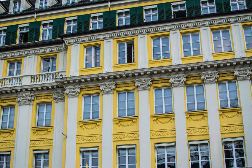 Munich Architecture Balcony Building Exterior Built Structure City Close-up Dallmayr Day Façade No People Outdoors Sky Structure Window Yellow