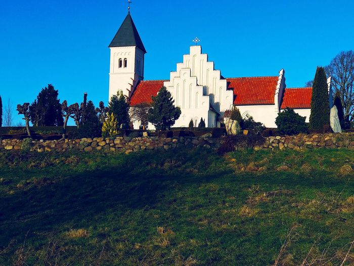 Morning Walk Kirke Built Structure Architecture Building Exterior Spirituality Tree Religion No People House Outdoors Place Of Worship Plant Clear Sky Sky Nature Day Grass First Eyeem Photo