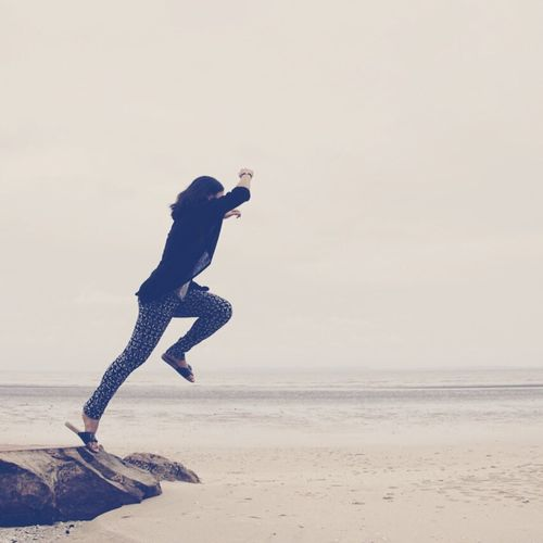 Jumping Running Chance Hope Beach Escape Girl Energy New Life Walking Fighting Fight For Life Freedom Goal Go! Go! Go! Forward The Following The Great Outdoors - 2016 EyeEm Awards Girl Power Original Experiences