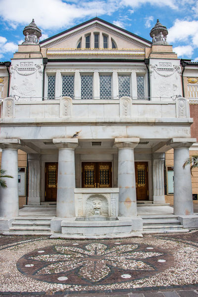Jugendstil Theater Architectural Column Architecture Art And Craft Building Building Exterior Built Structure Classical Style Cloud - Sky Day Façade History Italy Jugendstil Architecture Merano Neo-classical No People Ornate Outdoors South Tyrol Staircase The Past Travel Destinations
