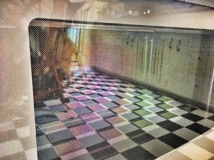 Baking diamonds and squares in an 85 line screen oven. Indoors  Multi Colored No People Day Close-up Oven OvenBaked Reflection Reflections Reflection_collection Checkered Checkered Pattern Checkered Floor Screen Line Screen Kitchen Surrealism Sureal