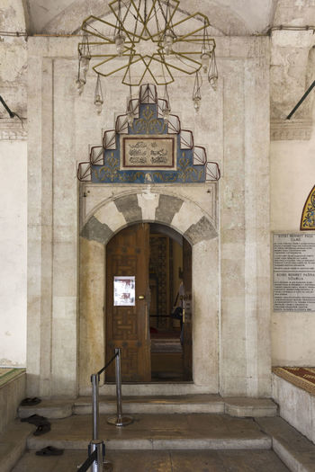 Koski Mehmed Pasha Mosque in Mostar, Bosnia Herzegovina Balkan Bosnia And Herzegovina Entrance Gate Koski Koski Mehmed Pashina Mosque Mostar Mostar Bosnia Worship Architectural Column Architecture Bosnia Door Doorway Indoors  Islamic Islamic Architecture Islamic Art Mehmet Mosque Mosque Architecture Mosque Interior No People Religious Architecture