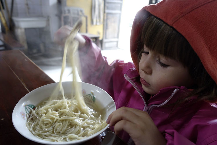 Close-up of a girl eating