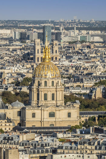 Aerial view of the golden dome of les invalides in paris