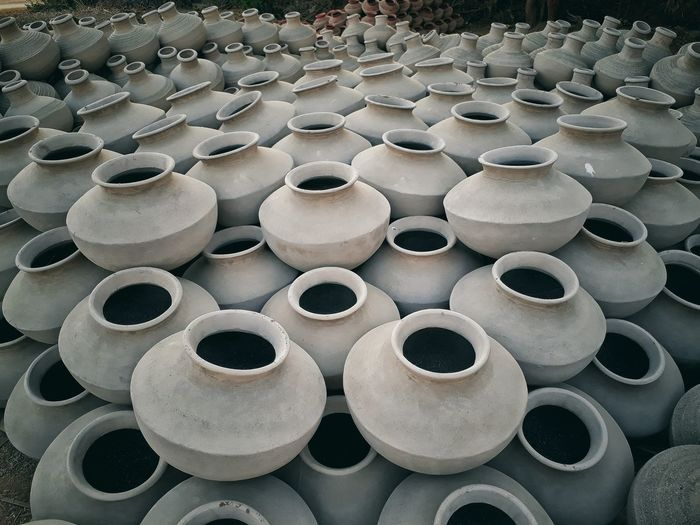 16 Stack Arrangement Close-up Roll Public Restroom Tissue Paper Spool Sewing Item Rolled Up Repetition Many Earthenware For Sale Textile Factory Thread