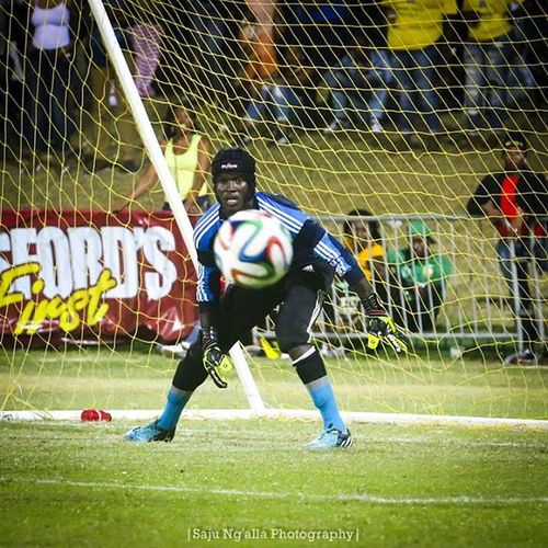 St. Paul's goalkeeper focuses on the ball during the Final Four of the SKNFA. Ryddim Sknfa Sknfinal4 StKitts