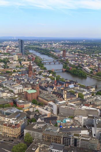 Frankfurt city view Architecture Built Structure Building Exterior City Cityscape Building High Angle View Residential District Day Aerial View Nature Water Sky River Outdoors Office Building Exterior Skyscraper Frankfurt Germany Main Aerial