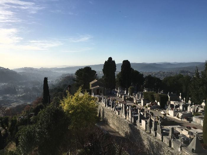 Cemetery at saint paul de vence against sky